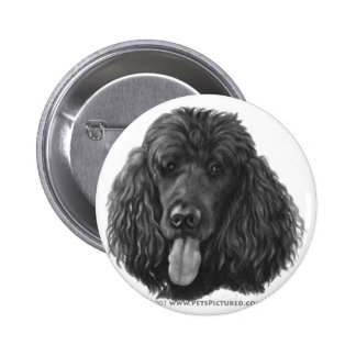 Shadow, Black Standard Poodle Button