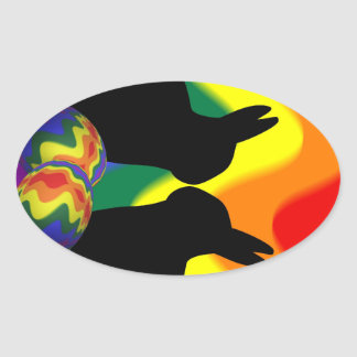 Shadow Bunnies Oval Sticker