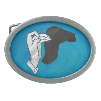 Shadow Camel On Blue Oval Belt Buckle