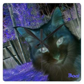 Shadow Cat In Amethyst Wall Clock