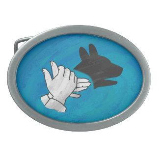 Shadow Dog On Blue Oval Belt Buckle
