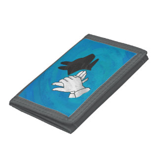Shadow Dog On Blue Trifold Wallets