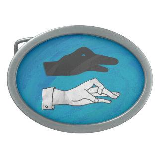 Shadow Duck On Blue Oval Belt Buckle