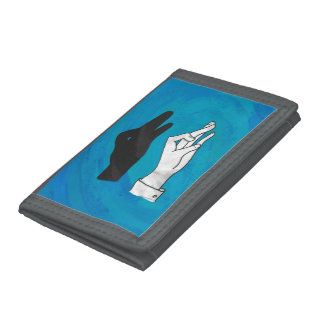 Shadow Duck On Blue Tri-fold Wallet