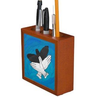 Shadow Eagle On Blue Pencil Holder