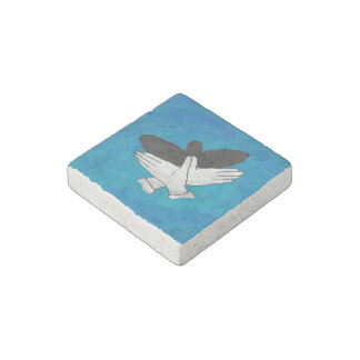 Shadow Eagle On Blue Stone Magnet