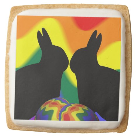 Shadow Easter Bunnies Square Shortbread Cookie