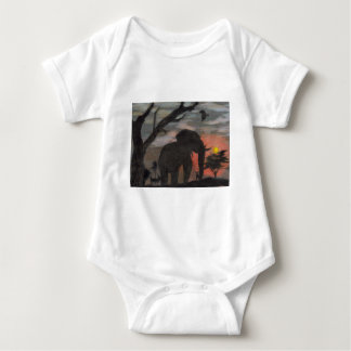 Shadow Elephant Baby Bodysuit