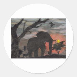 Shadow Elephant Classic Round Sticker
