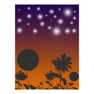 Shadow Flowers at Sunset Print