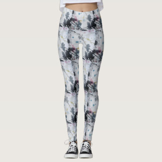 shadow leaf print leggings