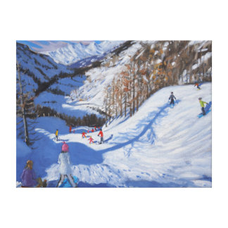 Shadow of a fir tree and skiers Tignes.2014 Canvas Print