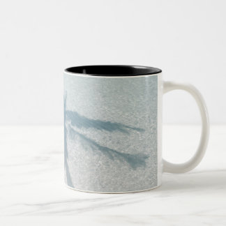 Shadow of a palm tree on a deserted island beach Two-Tone coffee mug
