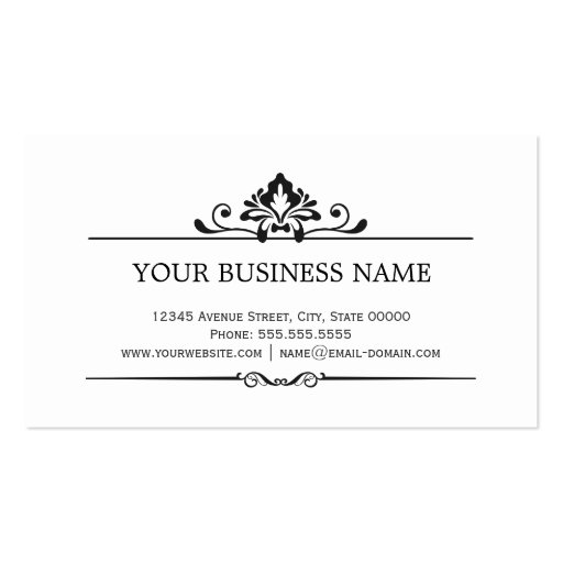 Shadow of Damask Black and White Business Cards (back side)