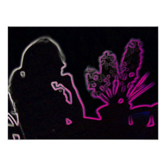 Shadow of girl and hyacinths Poster; pink Poster