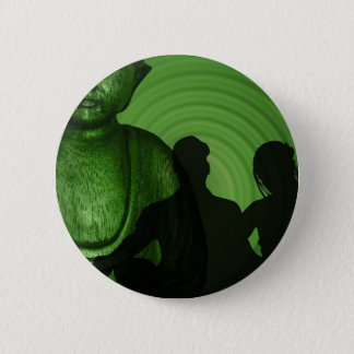 Shadow of Humans in front of Buddha in Green shade Button