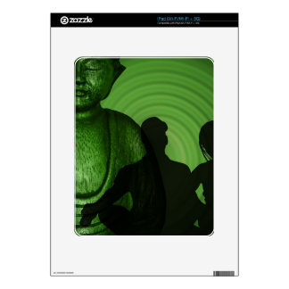 Shadow of Humans in front of Buddha in Green shade Decal For The iPad