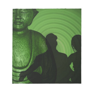 Shadow of Humans in front of Buddha in Green shade Notepad