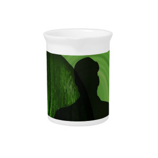 Shadow of Humans in front of Buddha in Green shade Pitcher