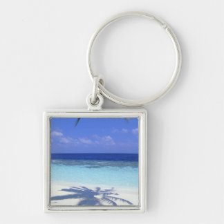 Shadow of Palm Tree Silver-Colored Square Keychain