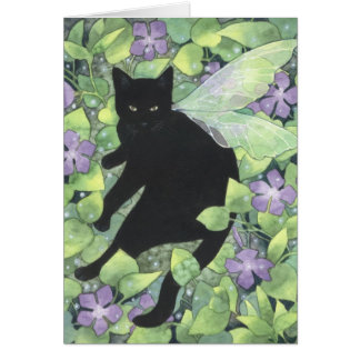 Shadow of Periwinkle - Fantasy Fairy Cat Art Card Greeting Card