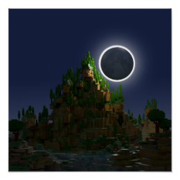 Shadow of the Moon Voxel Digital Art Poster