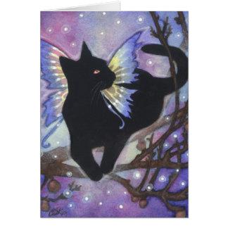 Shadow on a Moonlit Night - Fantasy Cat Art Card Greeting Card