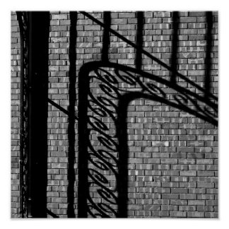 Shadow on Brick Wall Poster