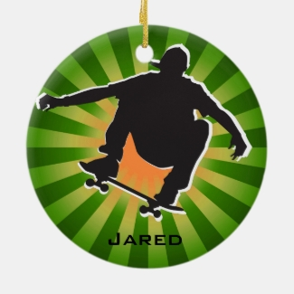 Shadow Outlined Skateboarding Ornament