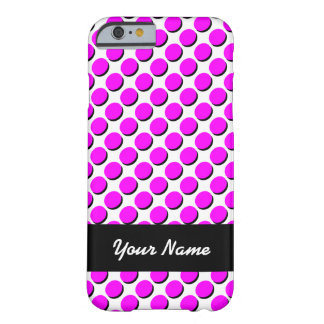Shadow Polka Dots, Hot Pink/Black, add your name Barely There iPhone 6 Case