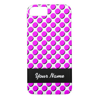 Shadow Polka Dots, Hot Pink/Black, add your name iPhone 8/7 Case