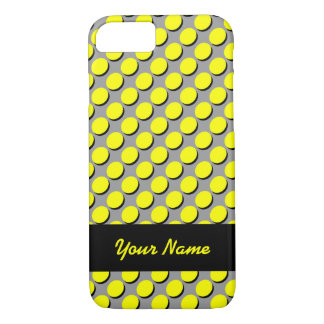 Shadow Polka Dots, Yellow/Black, add your name iPhone 7 Case