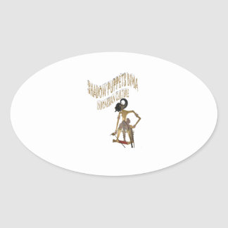 Shadow Puppets Bima Indonesian culture Oval Sticker