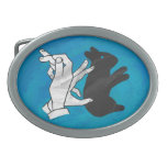 Shadow Rabbit On Blue Oval Belt Buckle