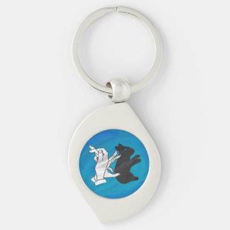 Shadow Rabbit On Blue Key Chain