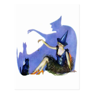 Shadow Witch and her Black Cat Postcard