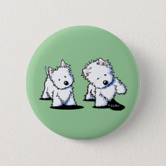 Shadowboxing Westies Pinback Button