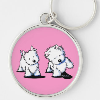 Shadowboxing Westies Silver-Colored Round Keychain