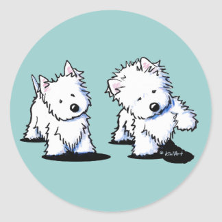 Shadowboxing Westies Round Stickers