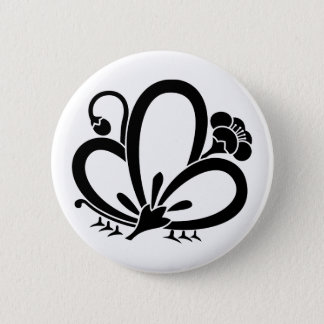Shadowed butterfly-shaped Plum blossom (Ageha cho) Pinback Button