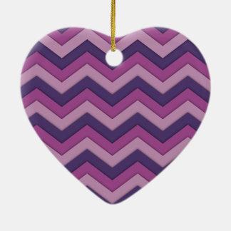 Shadowed Chevron Shades of Purple Heart Ornament