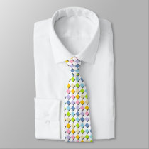 Shadowed Pastel Rainbow Diamonds Neck Tie