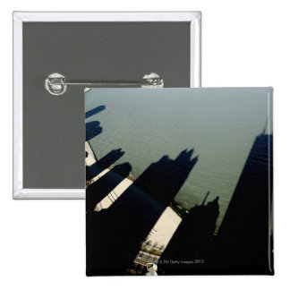 Shadows of Hancock Tower and apartment buildings Pinback Button