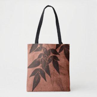 Shadows of Leaves on Rust Tote Bag