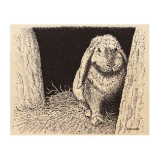 shadowy rabbit animal drawing wood canvas wood print