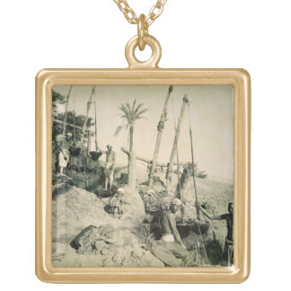 Shadufs in Upper Egypt (sepia photo) Gold Plated Necklace