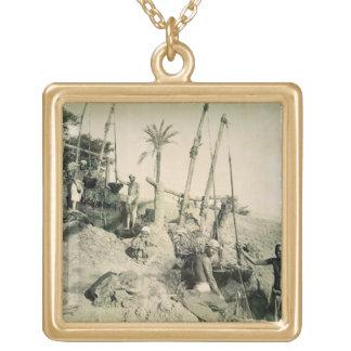 Shadufs in Upper Egypt (sepia photo) Custom Jewelry