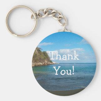 Shady Beach Runaway; Thank You Basic Round Button Keychain