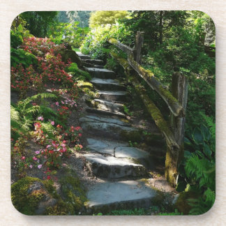 Shady Garden Flagstone Pathway and Stairs Drink Coaster