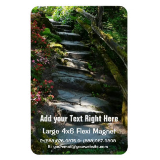Shady Garden Flagstone Pathway and Stairs Rectangular Photo Magnet